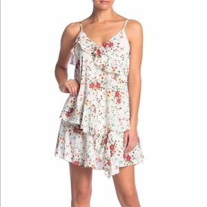 Parker Floral Ruffle Holly White Dress Sz S